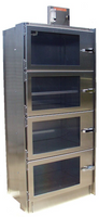 Desiccator Cabinets, Stainless Steel, 4 Compartments, 24x10x24 by Cleanroom World
