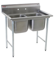 "Two Compartment Sinks, Type 304 Stainless Steel, Bowl Size: 24""x24"" by Cleanroom World"