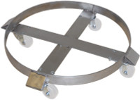Stainless Steel Drum Dolly, 85 Gallon, Hard Rubber Zinc Casters by Cleanroom World