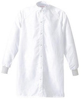 Cleanroom Frocks, Raglan Sleeve, Military Collar, Snaps at Front Opening, Knit Cuffs, Disctek 2.5, White, XS-5XL, FI-CFRC-89WH