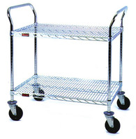 Stainless Steel Utility Carts, Casters, 2 Wired Shelves by Cleanroom World