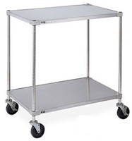 "Stainless Steel Lab Carts, 2 Shelves, 24""x36"" by Cleanroom World"