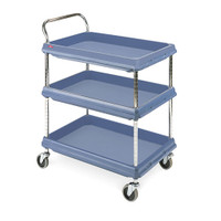 Polymer Utility Carts, Microban Blue, 3 Shelves by Cleanroom World