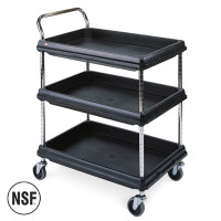 """Polymer Utility Carts, Black, 3 Shelves, 24""""x 36"""" by Cleanroom World"""