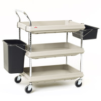 """Polymer Utility Carts, Gray, 24""""x 36"""", 2 Shelves by Cleanroom World"""