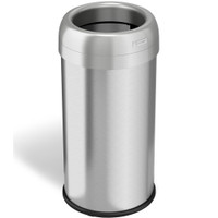 Trash Receptacles, Round, 16 Gallon, Stainless Steel by Cleanroom World