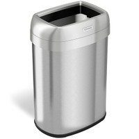 Trash Receptacles, Oval Open Top, 13 Gallon by Cleanroom World