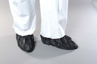 Cleanroom Shoe Covers, AquaTrak Material, Wet Conditions, Disposable, Non-Skid, Universal Size, Black, 75 pairs/case  AP-SH-C1182-B  by Cleanroom World