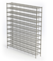 Cleanroom Shoe Racks, Chrome, 60 Compartments by Cleanroom World