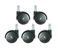 Cleanroom ESD Casters, Dual Wheel Interval Braking, Set of 5 by Cleanroom World