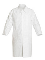 Tyvek Lab Coats, Snap Front, 3 Pockets, DuPont IsoClean, S-2XL by Cleanroom World