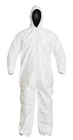 Tyvek Coveralls, Attached Hood, Elastic Wrists/Ankles, IsoClean, Bulk Packaged, M-3XL by Cleanroom World