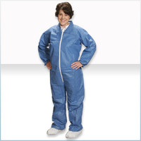 Disposable Coveralls, SMS Material, Blue, Elastic Wrists/Ankles/Back, M-4XL by Cleanroom World