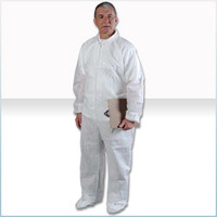 Disposable Coveralls, SMS Material, White, Elastic Wrists/Ankles/Back, M-4XL by Cleanroom World