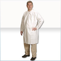 Disposable Lab Coats, Microporous Material, Snap Close, Elastic Wrists, 3 Pockets, M-4XL  by Cleanroom World