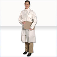 Disposable Cleanroom Frocks, Microporous Material, Zipper Front, Elastic Wrists, M-4XL by Cleanroom World