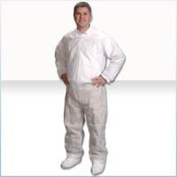 Disposable Cleanroom Coveralls, Light Weight Polypropylene, Elastic Wrists/Ankles, 25/case, M-4XL by Cleanroom World