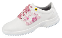 Functional Leather ESD Cleanroom Shoes, Pink Flowers by Cleanroom World