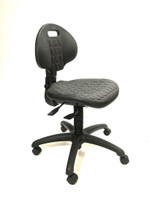 Polyurethane Chairs, 4 Height Ranges, 2 Back Adjustments, Black Hooded Casters, Black Powder Coated Base By Cleanroom World