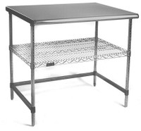 "Electropolished Perforated Tables, (1) Shelf, (1) C-Frame, 24""x 36""x 35""H by Cleanroom World"