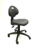 Harsh Environment Chairs, Polyurethane, 4 Height Ranges, 2 Back Adjustments, Nylon Dual Wheel Casters, Black