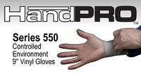 "Vinyl Gloves, Powder Free, 9""Long, Beaded Cuff, S-XL, HG-550  by Cleanroom World"