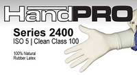 Cleanroom Gloves, Handpro, Natural Rubber Latex, Fully Textured, Natural Color, Double Chlorinated, Powder Free  by Cleanroom World