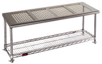 """Electropolished Perforated Top Gowning Benches with Shoe Storage, 18""""W By Cleanroom World"""