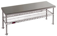 """Stainless Steel Gowning Benches, One Shelf, Solid Top, 18""""W By Cleanroom World"""