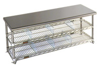 """Electropolished Gowning Benches with Shoe Storage, 18""""W By Cleanroom World"""