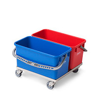 Double Mop Bucket Dolly, Two 6 Gallon, Autoclavable, Stainless Steel Casters By Cleanroom World