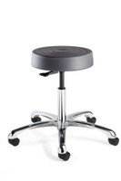 "Cleanroom Stool, ISO 4 Class 10, Seat Height: 16""-21.5"", Soft Polyurethane Seat, Graphite, Polished Aluminum Base, Dual Wheel Hard Floor Casters By Cleanroom World"