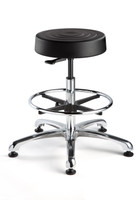 "leanroom Stool, ISO 4 Class 10, Seat Height: 23""-33"", Soft Polyurethane Seat, Black, Polished Aluminum Base, Mushroom Glides By Cleanroom World"
