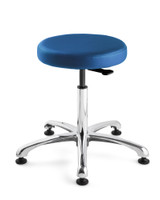 "Cleanroom Stool, Seat Height: 15.5""- 20.5"", Versa ISO 5 Class 100, Polished Aluminum Base, Mushroom Glides, Blue By Cleanroom World"
