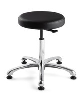 "Cleanroom Stool, Seat Height: 15.5""- 20.5"", Versa ISO 5 Class 100, Polished Aluminum Base, Mushroom Glides, Black By Cleanroom World"
