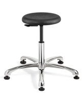 "Cleanroom Stool, Seat Height: 20.5""- 30.5"", Versa ISO 4 Class 10, Polished Aluminum Base, Mushroom Glides, Black By Cleanroom World"