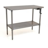 "Adjustable Height Tables, Tall Position, Right Side Crank, 30""x 72"" Type 316 Stainless Steel by Cleanroom World"