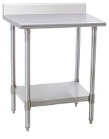 Stainless Steel Work Table; Spec Master, 14/304 Stainless Steel Top w/Backsplash, Stainless Steel Legs and Undershelf By Cleanroom World