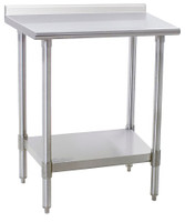 Stainless Steel Prep Table; Spec Master, 14/304 Solid Stainless Top w/Upturn, Galvanized Base w/Shelf By Cleanroom World