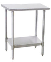 Stainless Steel Table, Eagle, Deluxe, 16/304, Stainless Steel Upturn Top, Stainless Steel Legs & Lower Shelf By Cleanroom World