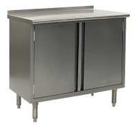 Stainless Steel Lab Tables, Upturn Type 304 Stainless Steel Upturn Top, Hinged Doors, w/Storage by Cleanroom World