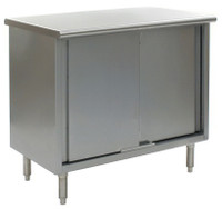 Stainless Steel Lab Tables, Flat Top, Sliding Doors, Lower Storage by Cleanroom World