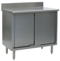 "Stainless Steel Lab Tables, 4 1/2"" Backsplash, Type 304 Stainless Steel Top, Sliding Doors, Lower Storage by Cleanroom World"