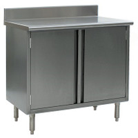 "Stainless Steel Lab Tables, Type 304 Stainless Steel Top, 4 1/2"" Backsplash, Hinged Doors by Cleanroom World"
