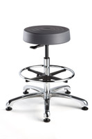 "Cleanroom Stool, ISO 4 Class 10, Seat Height: 23""-33"", Soft Polyurethane Seat, Graphite, Polished Aluminum Base, Mushroom Glides By Cleanroom World"