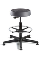 "Cleanroom Stool, ISO 4 Class 10, Seat Height: 23""-33"", Soft Polyurethane Seat, Graphite, Black Nylon Base, Mushroom Glides By Cleanroom World"