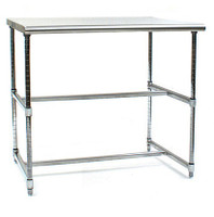 Cleanroom Tables, Stainless Steel Top, Chrome H-Frames by Cleanroom World