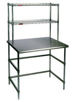 Cleanroom Tables, Stainless Steel Top, Chrome Base and Wire Shelves by Cleanroom World