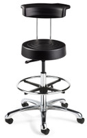 Cleanroom Stool w/ Backrest, Chrome Footring, Black By Cleanroom World