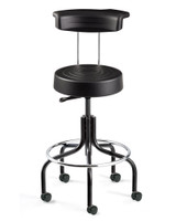 Cleanroom Stool w/ Backrest, Black, Chrome Footring, Black Tubular Base, Caster By Cleanroom World